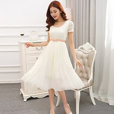 Women's+Casual+Micro-elastic+Short+Sleeve+Knee-length+Dress+(Lace)+–+USD+$+22.99