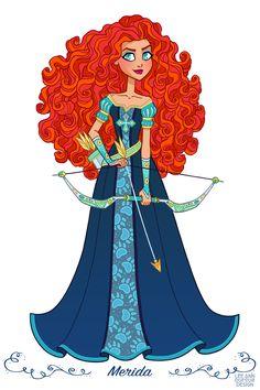 """Merida from """"Brave"""" - Art by Lee Ann Dufour Design Disney Princess Merida, Disney Princesses And Princes, Princesa Disney, Punk Princess, Disney Villains, Walt Disney, Cute Disney, Disney Girls, Disney Fan Art"""