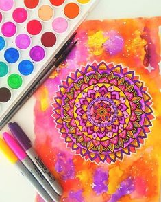 Pink, purple, yellow and orange mandala I'm trying different colour combos and…
