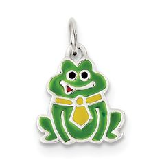 Sterling Silver Enameled Frog Charm QC6260