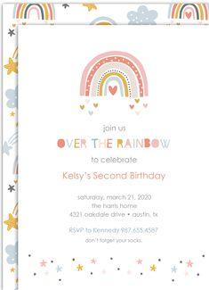 Little Modern Rainbow Birthday Invitation from PartyMonkey on Etsy - Party Business Rainbow Birthday Invitations, Rainbow First Birthday, Rainbow Theme, 1st Birthday Parties, Card Birthday, Birthday Ideas, Rainbow Colors, Blue Colors, Frozen Birthday