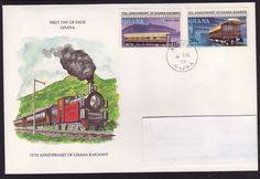 FDC, Trains, Ghana Chat Board, Stamp Collecting, Ghana, Postage Stamps, Trains, Street, Car, Seals, Motorized Bicycle