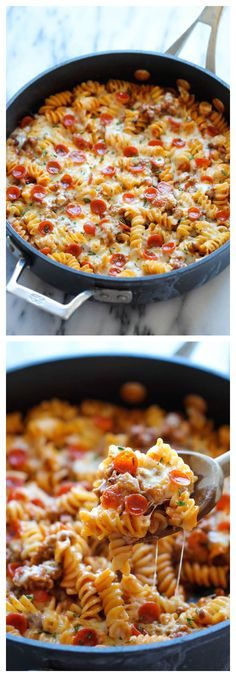 OK, it's more than 5 ingredients - but like 7 of them are in the spice drawer ALLTHETIME! One Pot Pizza Pasta Bake - An easy crowd-pleasing one pot meal that the whole family will love! Everyone will be begging for seconds!