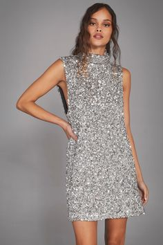 Silver sequin mini dress Las Vegas, Sequin Mini Dress, Green Wedding Shoes, Nasty Gal, Going Out, Casual, Night Out, Party Dress, High Neck Dress