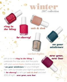New Release: Essie — Winter 2017 & Leathers by Rebecca Minkoff – fivezero Essie Nail Polish Colors, New Nail Polish, Nail Colors, Make Up Collection, Nail Polish Collection, Homemade Wedding Favors, Start The Party, Diy Garden Decor, Winter 2017