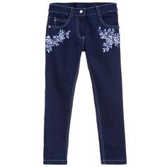 Ermanno Scervino Girls Dark Blue Denim Embroidered Jeans at Childrensalon.com