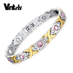12.15$  Buy here - Vinterly Pink CZ Stone Stainless Steel Bracelet Health Infrared Germanium Negative Ion Magnetic Bracelet Bangle for Women   #aliexpress
