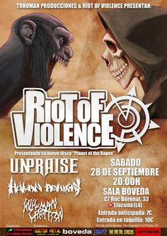 Riot Of Violence + Unpraise + Human Ashtray + Inhuman Creation en Barcelona
