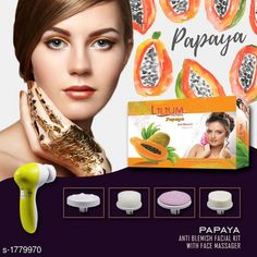 Face Lotion, Creams And Moisturizers Standard Choice Face Care Facial Kit & Face Massage Combo  Product Name: Lilium Papaya Anti Blemish Facial Kit  With Face Massager Product Type: Facial Kit & Face Massager  Capacity: Facial Kit- 80 gm Product Description: Facial Kit:-Nourishes Skin Tissues This facial kit helps you nourish your skin tissues and protect them from damage. Rebuilds Weaken Areas The kit helps rebuild weakened areas of the face which have been damaged due to various reasons and aggressors. Nourishes skin tissues For better development and rebuilding of new cells this facial kit has the ability to eliminate dead surface cells from your face and make place for new ones. Eliminates dead surface cells The Lilium Facial Kit will leave your skin moisturized without making it look oily.Restores skin?s luster and radiance. Moisturize skin The kit helps restore your skin?s luster and radiance by cleansing it off dead cells and nourishing it from within. Face Massager:-Relax and relieve your stressed muscles with this 5-in-1 beauty massager. Truly pampering and relaxing to use this skin massager has adjustable massaging parts which you can remove and attach according to your needs.  Package Contains: It Has 1 Pack Of Facial Kit & 1 Piece Of 5 in 1 Face Beauty Massager Country of Origin: India Sizes Available: Free Size   Catalog Rating: ★3.9 (1115)  Catalog Name: LILIUM Premium Choice Skin Care Products Vol 3 CatalogID_233617 C170-SC1950 Code: 703-1779970-0031