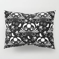 Abstract floral black and white Pillow Sham