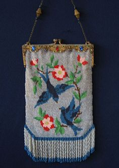 Circa 1890-1910,  Glass beaded purse