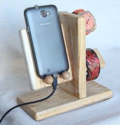 Wooden  Phone Charge Station, Hand Watch Bracelet Stand Display, Obeche - Samba Wood.