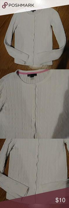 58fddb139bd Gap Kids Girl's White Ribbed Cardigan Gap Kid's girl's white ribbed button  up cardigan size XL