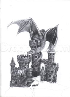 how to draw a dragon and castle step 24