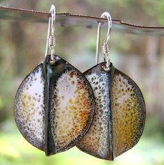 Yellow & White Speckled Copper Enamel Earrings | Flickr - Photo Sharing!