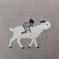 adipocere: Hand embroidery on natural linen.