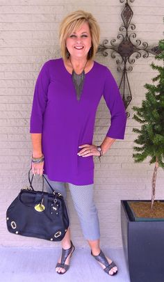 50 IS NOT OLD | RICH SOFT AND COZY | Purple | Tunic | Printed Crop Pants | Fashion over 40 for the everyday woman