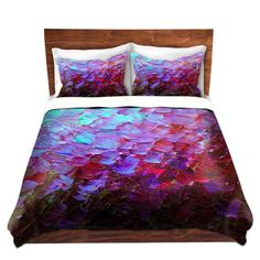 MERMAID SCALES Deep Purple Art Duvet Covers Bedroom Bedding Colorful Fine Art Decorative Modern King Queen Twin Size Dorm Room Teen Style by EbiEmporium, Ocean Waves Splash Ombre Contemporary - I love the colors....
