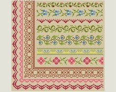 Cross Stitch border - Cross Stitch patterns- Cross Stitch edge - Embroidery Borders. This is a digital Cross stitch pattern that you can instantly download from Etsy after purchase. Patterns include a full color chart with color symbols, a thread legend. The whole chart on one