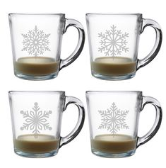 So cute.  Warm up inside with a cup of coffee, tea or hot chocolate with these intricately etched glass coffee mugs each with a different snowflake design.