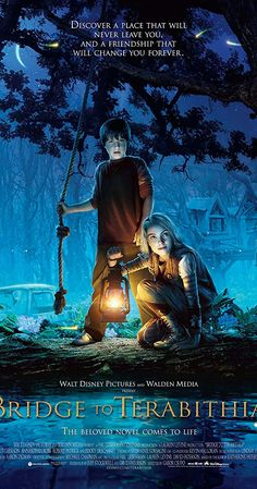 Directed by Gabor Csupo. With Josh Hutcherson, AnnaSophia Robb, Zooey Deschanel, Robert Patrick. A preteen's life turns upside down when he befriends the new girl in school and they imagine a whole new fantasy world to escape reality. Walt Disney Pictures, Bridge To Terabithia 2007, Katherine Paterson, New Fantasy, Adventure Film, Internet Movies, Tv Series Online, Film Posters, Feature Film