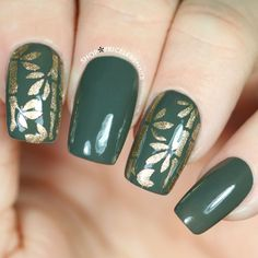 Glossy olive nails with gold bamboo + leaves! ✨