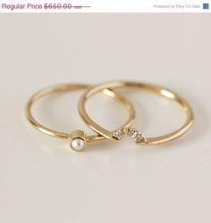 SUMMER SALE Wedding Set - Pearl Ring & Diamond Crown Ring - 14k Gold