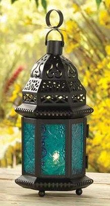 Blue Moroccan Lanterns Suspended by 1 Meter Glass by SparkleSoiree, $23.00  Can order a bunch of them!!
