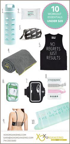 What's in Your Gym Bag? 10 Workout Essentials Under $20. #workout #workoutwear #getorganized