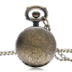 Small Vintage Bronze Watch Sweet Beautiful Little Cute Nice Elegant Flower Bloom Long Chain Necklace Fob Pocket Watch
