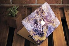 WolfCase Full Cover Clear Shell Case for Apple New Macbook 2016 2017 (Air Pro Retina 12 inch with/without touch bar), Gold Purple Marble, Macbook Air 11 Case, New Macbook, Purple Marble, Purple Gold, Apple New, Leather Texture, Macbook Pro Retina, Handmade, Etsy