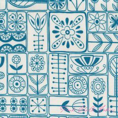 Lucie Summers Summersville Scandi Turquoise - COATED - Fabric by my friend Lucie!  I want to make a tablecloth out of this!!!!