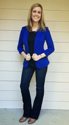 LOVE this blazer!  I love the pop of color, the shape, the ruched sleeves.  I would love something like this to wear for work.