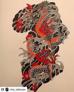 Japanese Dragon Tattoos, Japanese Tattoo Art, Japanese Sleeve Tattoos, Japanese Art, Japanese Tattoo Designs, Dragon Tattoo Vector, Dragon Tattoo Designs, Tatoo Designs, Kunst Tattoos