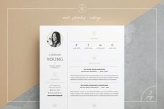 Creative Market Resume/CV | Caroline by Keke Resume Boutique on @creativemarket Our design, 'Caroline', contains a professional two-page​ design with matching cover letter and a minimal, clean layout. Everything is editable including fonts and colors so be sure to personalize to suit your needs. Move and duplicate elements and make the design your own!