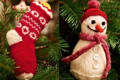 A Christmas classic, these vintage-style red and white decorations will look beautiful on your tree. Make a couple extra as a thoughtful gift for someone special. Dive in and start making our knitted Christmas decorations (and buy the full set of patterns here).