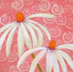 Contemporary Flower Painting WHITE DAISIES titled by LauraGaffke, $25.00