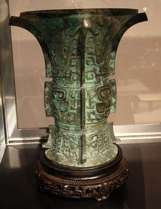 "Rare bronze ritual wine vessel (zun), Late Shang/Early Western Zhou Dynasty, 12th-10th Century B.C., 11 7/8"" high"