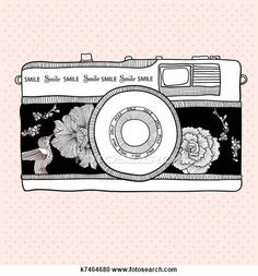 Stock Photography of Background with retro camera. Vector illustration. Photo camera with flowers and birds. Camera with floral pattern. k7464680 - Search Stock Photos, Pictures, Wall Murals, Images, and Photo Clipart - k7464680.jpg