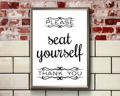 Funny Bathroom Art Please Seat Yourself Printable