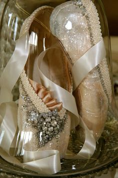 Used Point shoes decorated with glitter, ribbon, vintage finds and Swarovski crystals.