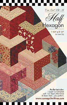 Easy Tumbling Blocks Pattern Using Accuquilt Half Hexagon