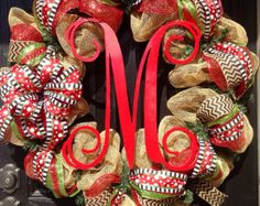 Burlap Christmas Wreath // Red // Lime Green by KilbiBranchDesigns