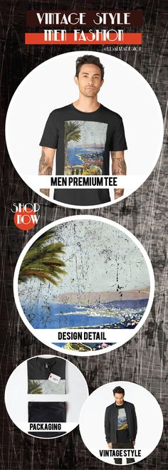 Men�s Premium T-Shirt  Vintage Travel Poster, Aged and Weathered - Sanremo Italy  Design inspired by vintage travel and advertisements posters from the late 19th century.  (Also available in mugs, shirts, duvet covers, acrylic , phone cases,   kid fashion)  #vintage  #oldies #grunge #retro #travelposter   #vintageposter #vintagetravel #buyart #giftideas #redbubble   #teepublic #lisalizadesign #vintagefashion    #men #tshirt #menfashion