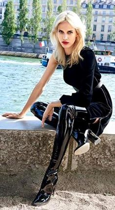 """fashion-boots: """"Aymeline Valade In Air France Madame August/september 2015 By Sonia Sieff """" Thigh High Boots Heels, Heeled Boots, High Heels, Latex Fashion, Fashion Boots, Crotch Boots, High Leather Boots, Patent Leather, Latex Girls"""