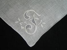 WEDDING HANKIE, Vintage Gray On White Linen, Monogramed, Initial F, Applicade, Punchwork, Lovely.. $12.00, via Etsy.