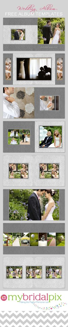 FInd all your needs for a DIY #wedding #album at www.mybridalpix.com. Why pay a pro when you can do it yourself and save hundreds of dollars in the process. Simply drag and drop your images into ready made templates. #DIY #WeddingAlbum #PhotoBook #AlbumTemplates