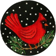 NEEDLEPOINT Handpainted Amanda Lawford CHRISTMAS Cardinal ORNAMENT