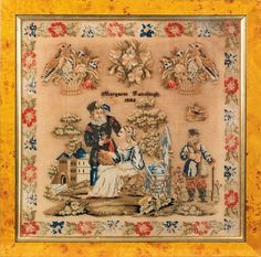 A Fabulous Century Sampler Stitched By Margaret Fairclough & Dated 1848 Embroidery Sampler, Cross Stitch Samplers, Antique Quilts, Stitch 2, 18th Century, Needlepoint, Needlework, Retro Vintage, Vintage World Maps