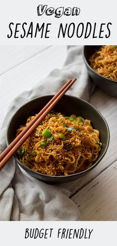 This vegan budget friendly sesame noodles is cheap and very delicious. Food Recipes For Dinner, Food Recipes Keto Healthy Dinner Recipes, Whole Food Recipes, Vegetarian Recipes, Veggie Recipes Cheap, Vegan Noodles Recipes, Cheap Vegan Meals, Vegan Sesame Noodles, Vegan Budget, Budget Meals
